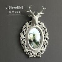 Скандинавская Смола голова оленя круглое настенное зеркало винтажная статуя домашний декор ремесла настенное украшение Смола животное ма