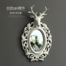 Nordic resin deer head round wall mirror vintage statue home decor crafts wall decoration resin animal Make-up mirror figurines