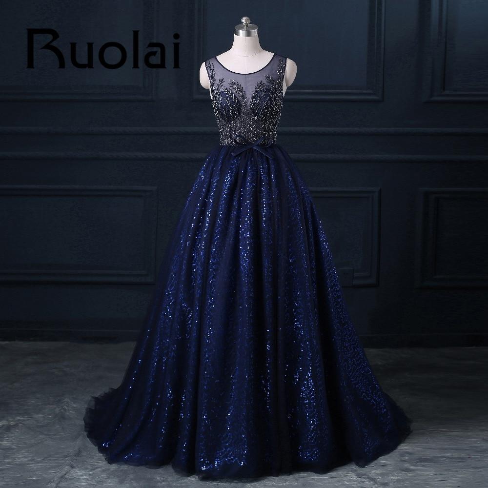 2017 Mewah Diraja Blue Berat Beaded Ball Gaun Petang Sifon Sequined - Gaun acara khas - Foto 1