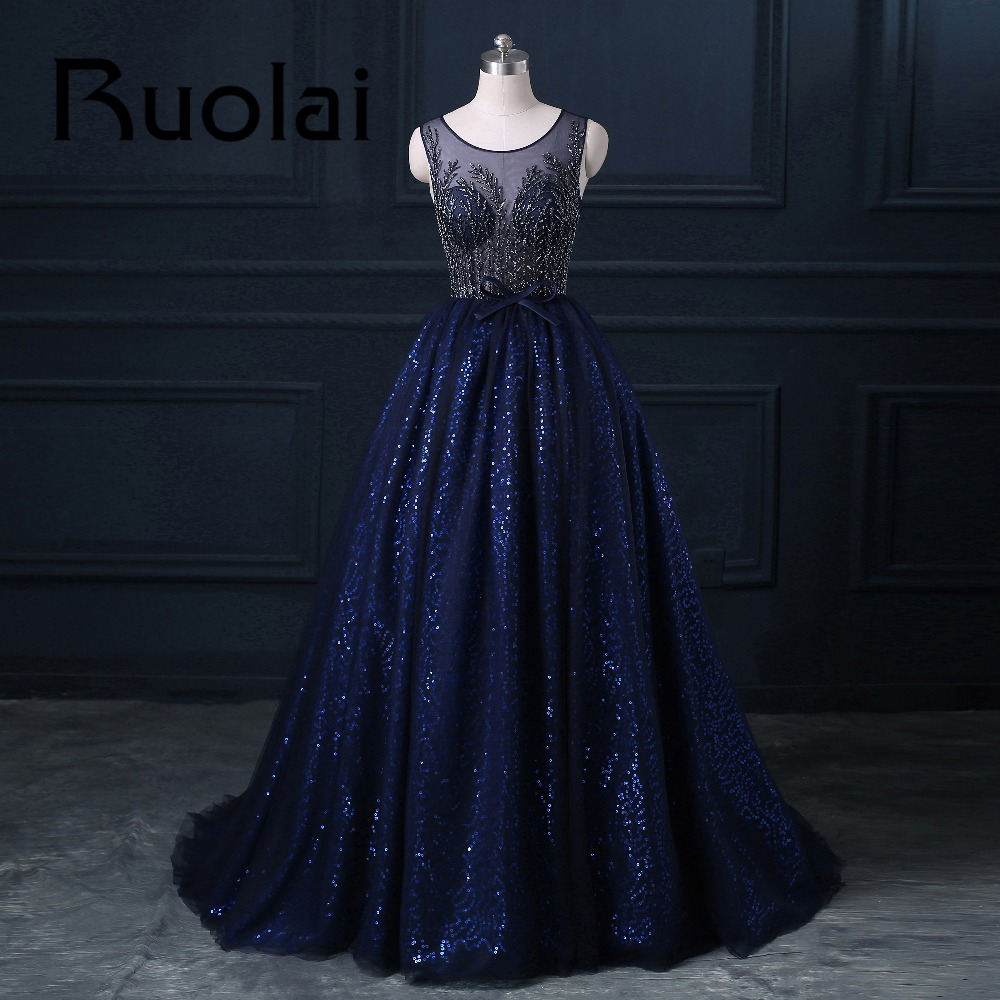 2017 Luxury Royal Blue Heavy Beaded Ball Gown   Evening     Dress   Scoop Sequined Bow Party   Dress   Sleeveless Prom Party Formal   Dresses