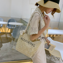Fashion new transparent square straw bags for women 2019 white beach large summer leisure  female crossbody high quali