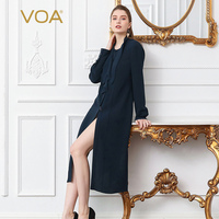 VOA Heavy Silk Blouse Plus Size 5XL Women Tops Sexy Split Long Sleeve Shirt Solid Navy