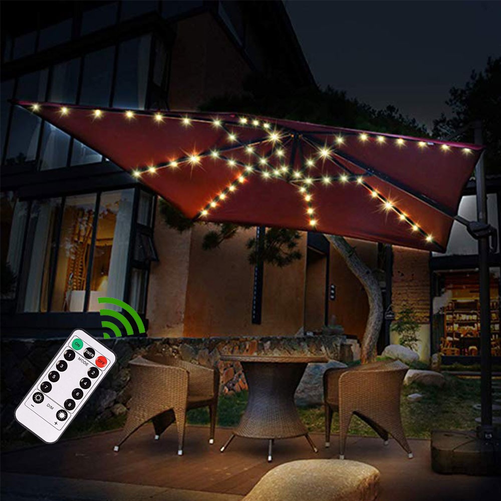 Upgraded Patio Umbrella Light Garden Parasol Lamp IP67 Waterproof LED String Light Flexible Decor Ogrodowy Lighting Outdoor Lamp