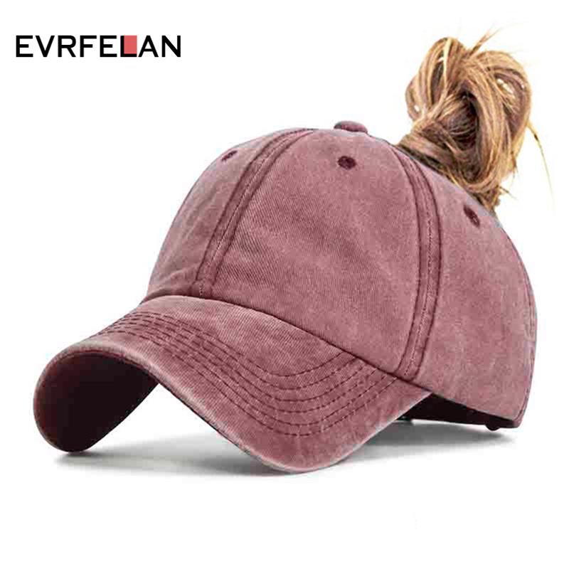 Evrfelan Fashion Design Ponytail Baseball Cap For Women Snapback Dad Hat Female Wash Hat Summer Sport Sun Hat Bone Ladies Gorras(China)