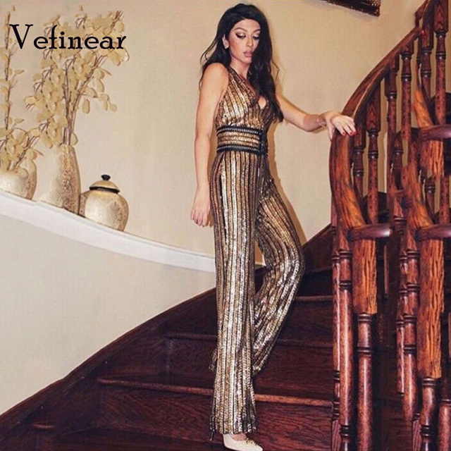 4b9081f86805 Vefinear 2019 Sexy Deep-V Sleeveless Strapless Halter Backless Sequin Jumpsuit  Women Halter Rompers Club