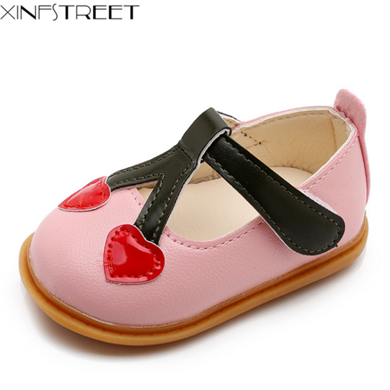 Xinfstreet Infant Baby Girls First Walkers Soft Sole PU Leather Cherry Cute Children Moccasins Baby Shoes
