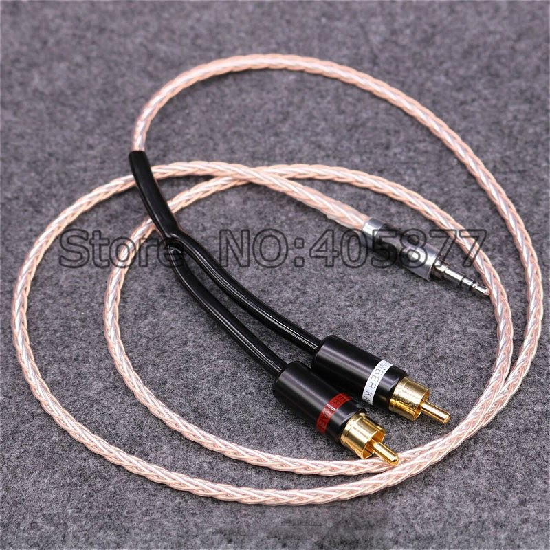 1M Hi End OCC Copper and Silver Plated hifi audio cable 2 rca to 3.5MM hifi 1 to 2 audio video cable