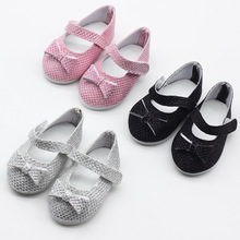 Baby Doll Bowknot Summer Shoes For 18 Inch Girl Dolls Accessories  Clothes Handmade Socks Sneakers