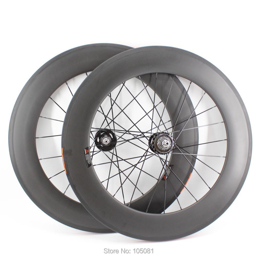 Rims 700c 88mm Tubular Track Sepeda Gigi Tetap Baru Matte Tusuk Eceran Restoran Aero 3 K Penuh Serat Karbon Wheelset Dengan Hub Gratis Kapal