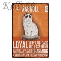 [Kelly66] Ragdoll CAT металлическая вывеска Оловянная табличка для домашнего декора настенная художественная живопись 20*30 см Размер y-1796