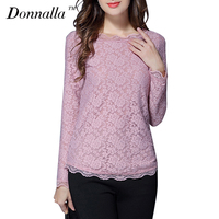 Donnalla Women Blouses Long Sleeve Pink Lace Blouse Shirt O Neck Slim Basic Shirts Women Tops