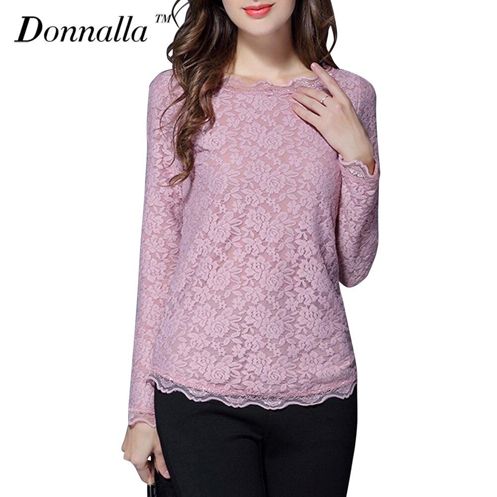 434d435af813c Donnalla mujeres Blusas manga larga Rosa Encaje blusa camisa o cuello  básico Delgado Camisas mujeres Tops blusas femeninas más tamaño l 5xl en  Blusas y ...