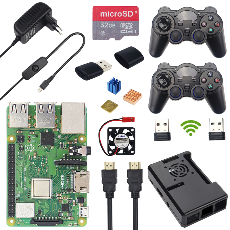 Raspberry Pi 3 Model B Plus Board Wireless Game Controller 32GB SD Card 3A Switch Power