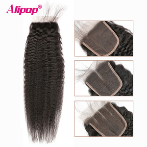 Image 3 - Kinky Straight 5x5 Lace Closure Pre Plucked With Baby Hair Brazilian Remy Human Hair Closure 10 20 Inches Swiss Lace Free Alipop