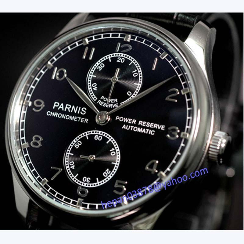 Parnis 43mm Black dial Power reserve black Leather Strap ST2542 Automatic movement Men's watch 100 relogio masculino цена и фото