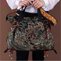 2017 new canvas embroidered women bag national characteristics single messenger bag women's fashion leisure bag crossbody bag