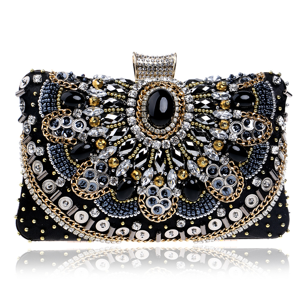 Luxury Women Eevning Bag Wedding Clutch With TOP QUALITY Diamond Rhinestone Pearls Beaded Black Purse Luxury Ladies Day Clutches цены онлайн