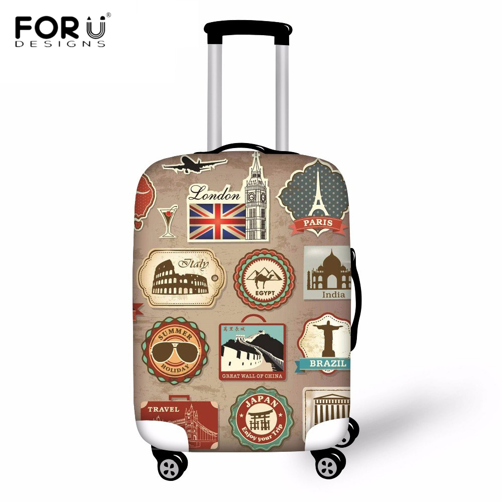 FORUDESIGNS Suitcase Cover Travel Luggage Cover On Road Stamp Print Luggage Protector Spandex Protection Cover For Trolley Case