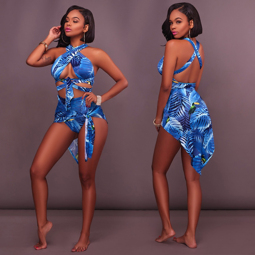 Women Sexy Swimsuit Leaf Printed Beach Swimwear 2019 Robe de Plage Cover ups Cardigan Plus Size Bathing Suit New Style Body Suit
