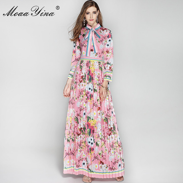 fd4094250 MoaaYina Women Maxi Dress Long Sleeve Bow Collar Pleated Pink Floral Flower  Print Holiday Elegant Floor Long Dress High Quality