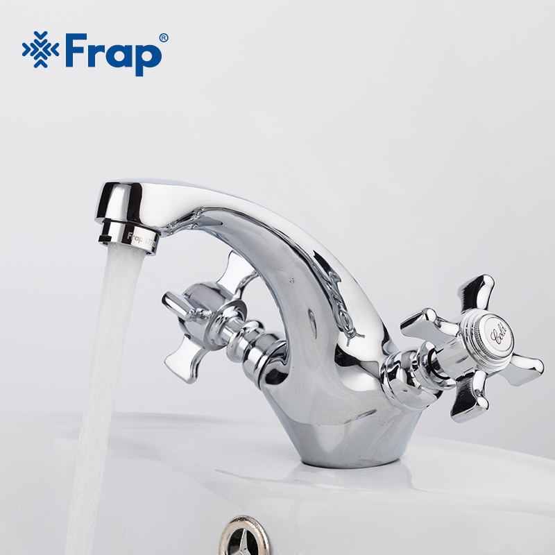 Frap Silver Brass bathroom fixtures Basin Faucet Dual handle hot and cold water tap mixer for bath room torneira grifo F1024