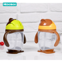 Medoboo Baby Water Bottle Kids Children Drinking Cup Learn Training Straw With Handle School 25