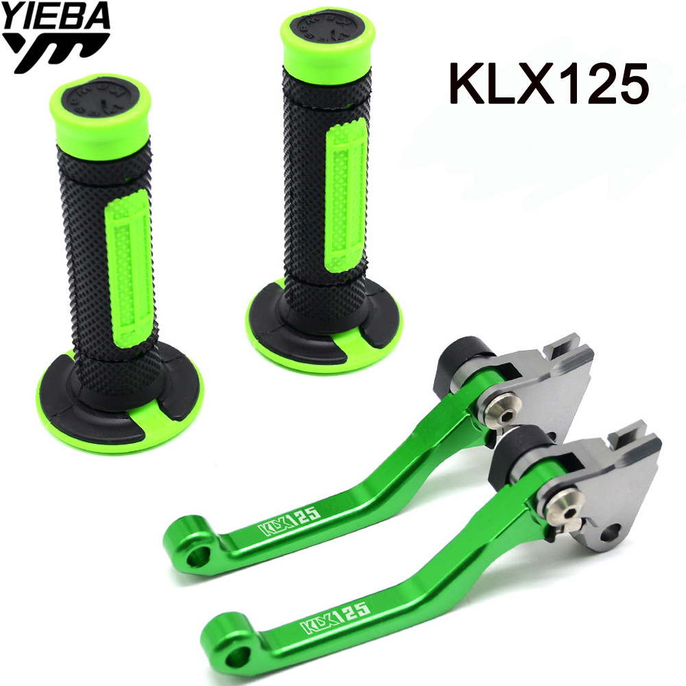 LOGO Motorcycle 22MM Handle Adjustable Brake Clutch Lever and Handle Grips For KAWASAKI KLX125 KLX 125 D-TRACKER125 2010-2016