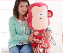 big size new plush lovely monkey toy red stripe cute monkey toy doll gift about 87cm