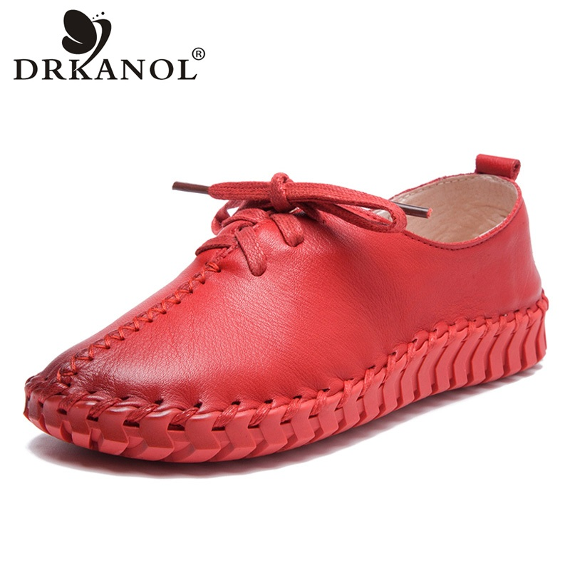 DRKANOL 2018 Spring Autumn Women Shoes Handmade Sewing Genuine Leather Flat Shoes Lace Up Soft Flats Casual Women shoes H1601 spring autumn soft bottom genuine leather comfortable flats large size women shoes flat with lace casual shoes elderly shoes