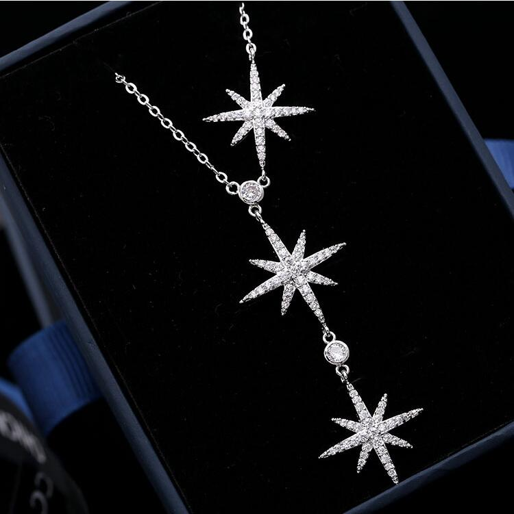 LZX New 3pcs Star Design Choker Necklace White Gold Color Cubic Zirconia Crystal Adjustable Necklaces Pendants For Women Jewelry