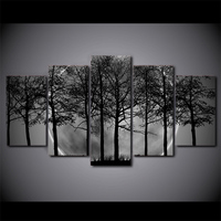 5 Pcs/Set Framed HD Printed Black And White Tree Forest Canvas Art Painting Poster Picture For Home Decorative Wall Picture
