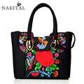 Linen Shopping Bag Fashion Women Handbag Ladies Tote Shoulder Bags Ethnic Embroidery Casual Large Bolsa Feminina