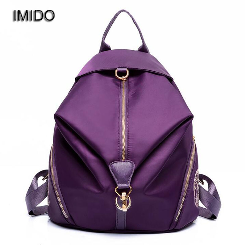IMIDO 2017 Hot Women man travel backpack nylon pack rucksack bolsas mochila backpacks for girls backbags waterproof black SLD009