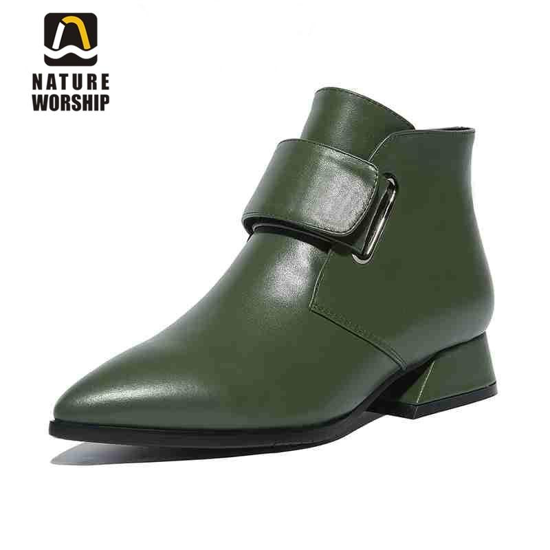 큰 크기 34 43 여성 신발 패션 발목 부츠 광장 발 뒤꿈치 지적 발가락 부츠 정품 가죽 발목 부츠 버클 여성 신발-에서앵클 부츠부터 신발 의  그룹 1