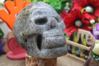 Natural Quartz Crystal Black Hair Crystal Carved UFO Skull To Heal