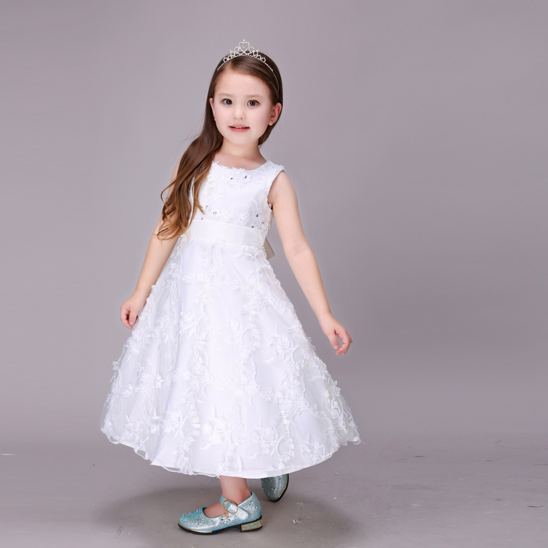 11.11 2016 Fashion Gowns Children Dresses Teenagers Age 2-5 6 7 8 9 Party Princess Maxi Dresses For Kids Girls Wedding Dress