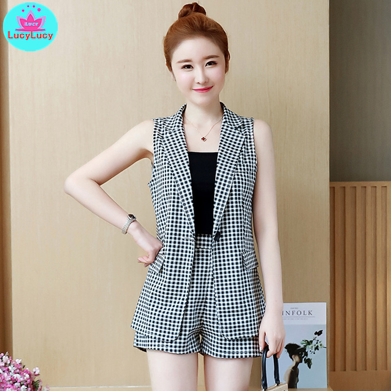 2019 Summer New Korean Version Of The Slim Slim Plaid Suit Vest + Vest + Short Wide Leg Pants Three-Piece Suit Women
