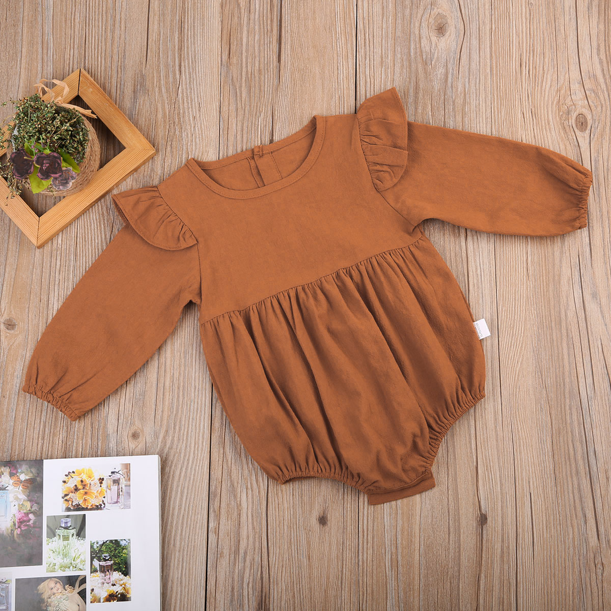 Pudcoco Solid Cotton Baby Autumn Rompers Vintage Baby Girl Romper Long Sleeve Baby Clothes 3m 3Years Pudcoco Solid Cotton Baby Autumn Rompers Vintage Baby Girl Romper Long Sleeve Baby Clothes 3m - 3Years