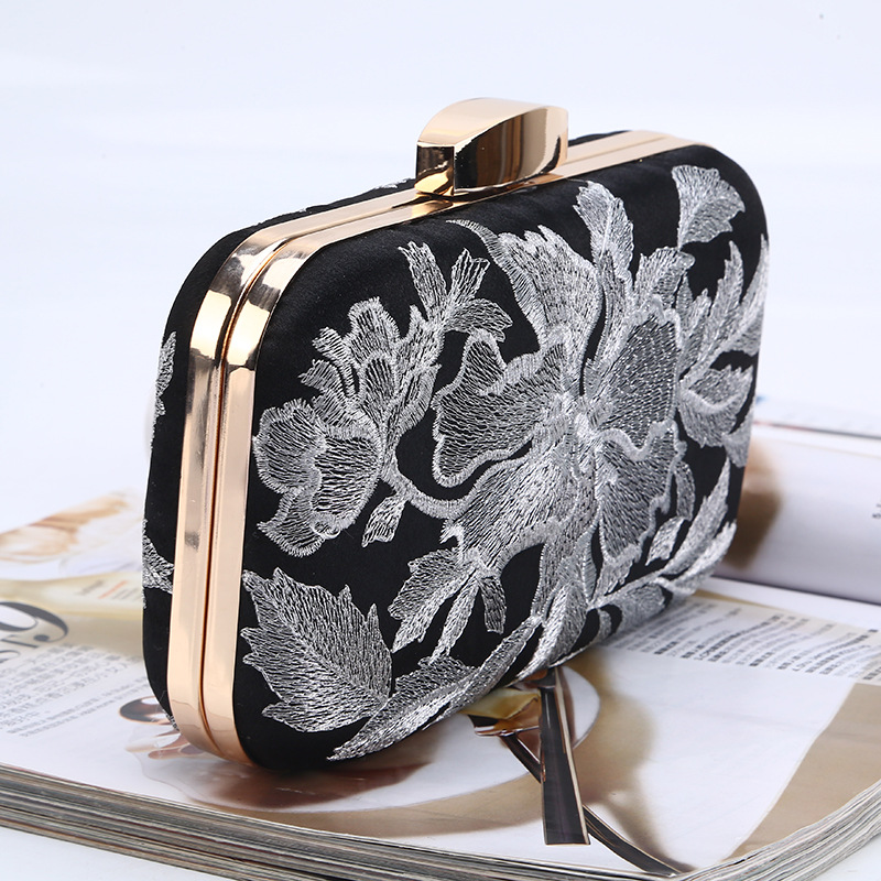 ONEFULL new fashion evening clutch handbag hasp floral embroidery handbag chain night club evening party handbg clutches in Clutches from Luggage Bags