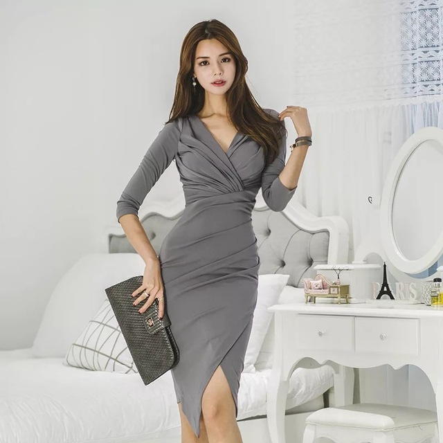 4a58006ce5ce9 US $21.85 5% OFF|new arrival temperament slim sexy solid asymmetrical dress  autumn work style elegant transparent comfortable women party dress-in ...