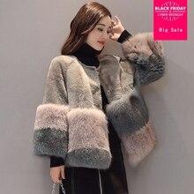 S-2XL plus size Winter New fashion brand Fake fox fur jacket women's Furry Luxury hit color warm Faux fur coat wj1833