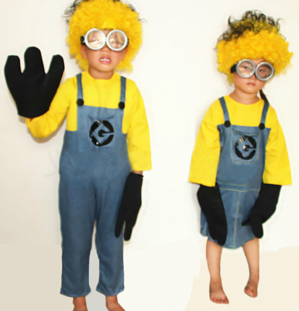 2017 fashion Childrenu0027s Minion Costume Halloween Anime Mini Despicable Me Cosplay Costumes Suits Boys Girls Kids & 2017 fashion Childrenu0027s Minion Costume Halloween Anime Mini ...