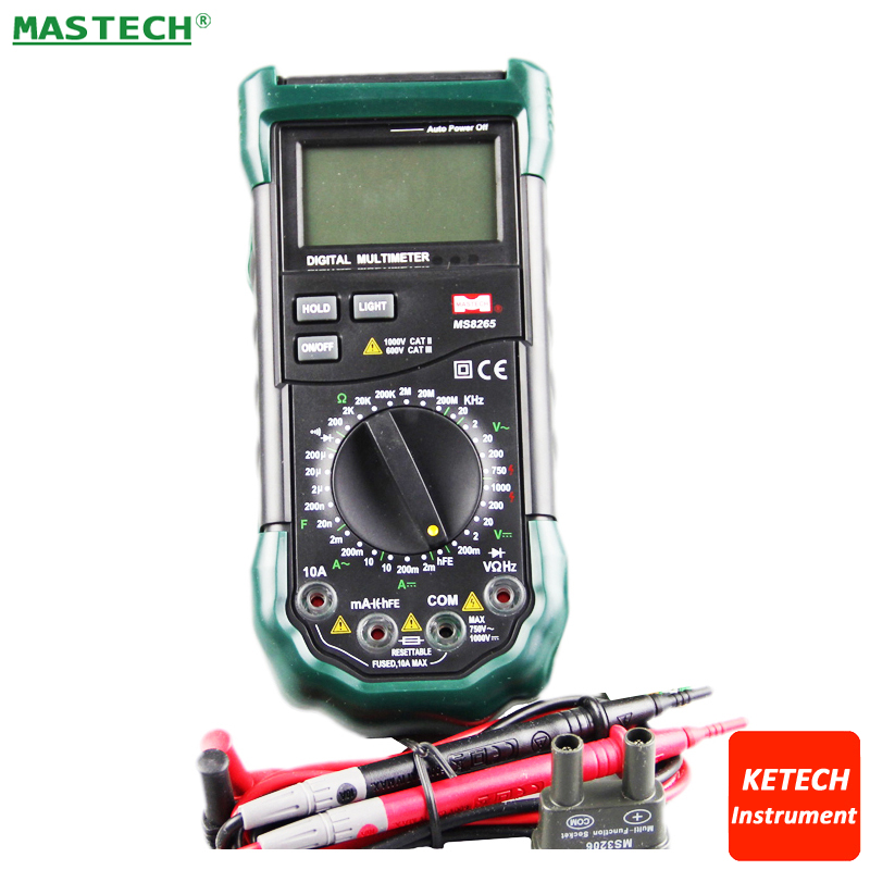 4 1/2 LCD Digital Multimeter AC DC Voltage Current Resistance Capacitance Tester Meter Continuity Diode Test MASTECH MS8265 mastech mas830l mini digital multimeter handheld lcd display dc current tester backlight data hold continuity diode hfe test