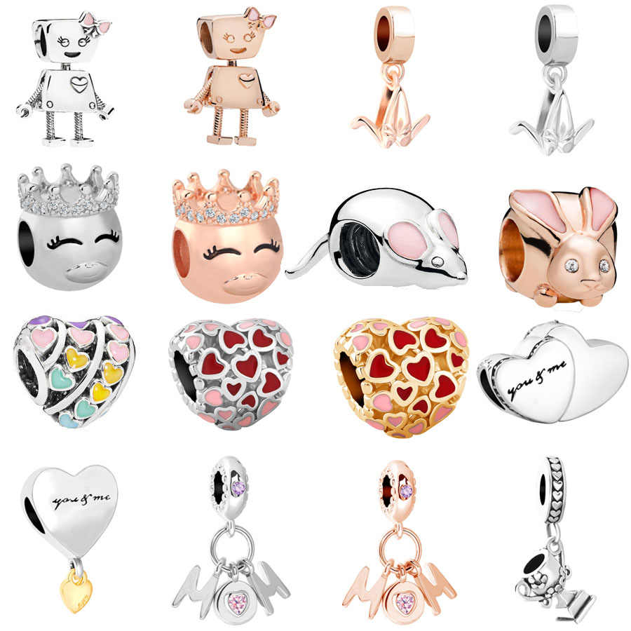 free shipping European 1pc rose gold& bella bot mom you and me mouse bunny bead charms Fits Pandora Charm Bracelets mix050