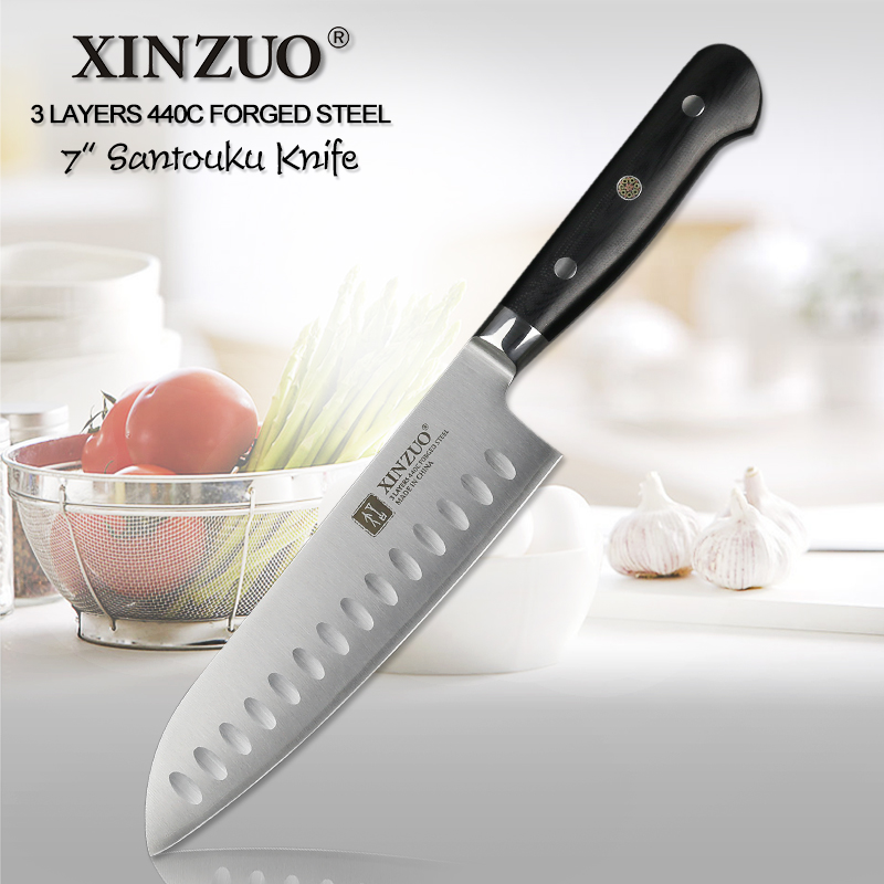 XINZUO 7 inch Santoku Knife 3 Layer 440C Core Clad Steel Kitchen Knives Dealing with Meat Fruit Vegetables with G10 HandleXINZUO 7 inch Santoku Knife 3 Layer 440C Core Clad Steel Kitchen Knives Dealing with Meat Fruit Vegetables with G10 Handle