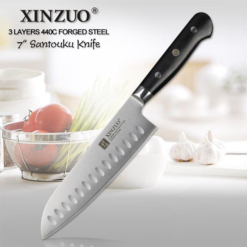 XINZUO 7 pouces santoku Couteau 3 Couche 440C Core Acier Plaqué Cuisine Couteaux Japonais chef G10 Poignée En Acier Inoxydable Coutellerie Cutter