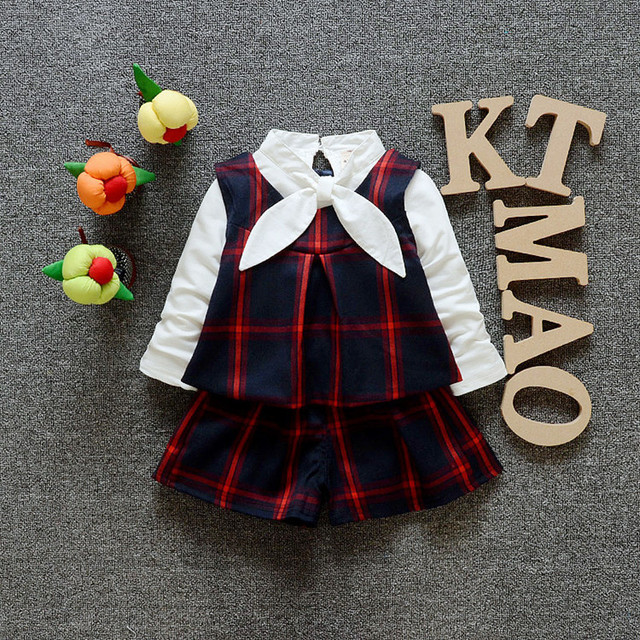 Girls Clothes Toddler Girl Clothing 2016 New Brand Spring White Long Sleeve Shirt+Plaid Vest+Shorts 3 Piece Set Girls Outfits