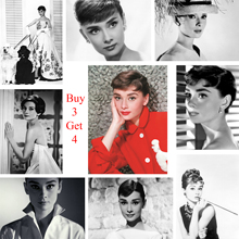 Audrey Hepburn Posters Movie Wall Stickers White Coated Paper Prints High Definition Livingroom Bedroom Bar Home Art Brand