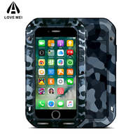 LOVE MEI Camouflage Metal Case For iPhone 7 8 7 Plus 8 Plus Aluminum Armor Cover For iPhone7 8 7Plus 8Plus Water/Shockproof Capa
