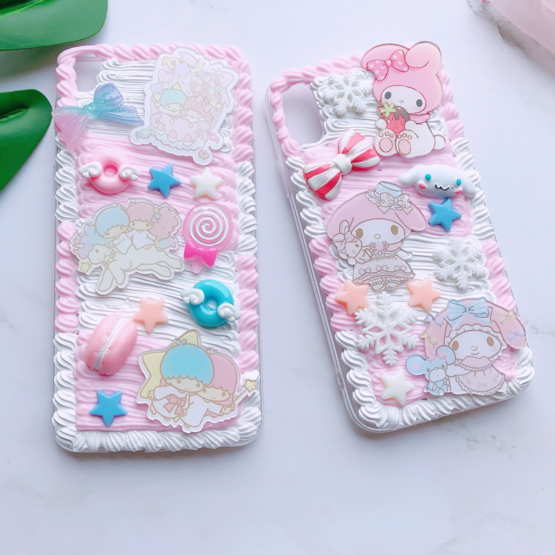 For huawei P30 pro/P20 plus /nova3e Gemini DIY case, 3D melody cover for samsung s10 plus handmade cream candy case gift